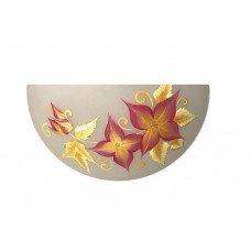 Светильник-бра, стекло-металл, Е27, 60W, 300х150х95мм, IP20, белый/цветы, круглый