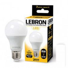 LED лампа LEBRON L-A60, 8W, Е27, 4100K, 720Lm