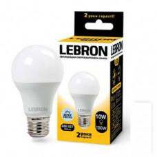 LED лампа Lebron L-A60, 10W, Е27, 6500K, 850Lm, угол 240°