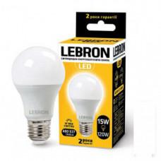 LED лампа Lebron L-A65, 15W, Е27, 3000K, 1350Lm, угол 240 °