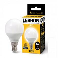 LED лампа Lebron L-G45, 4W, Е14, 3000K, 320Lm, угол 240 °