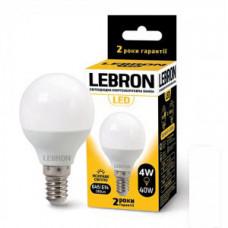 LED лампа Lebron L-G45, 4W, Е14, 4100K, 320Lm, угол 240 °