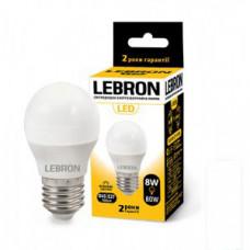 LED лампа LEBRON L-G45, 8W, Е27, 3000K, 700Lm