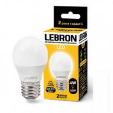 LED лампа Lebron L-G45, 4W, Е27, 3000K, 320Lm, угол 240 °
