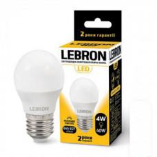LED лампа Lebron L-G45, 4W, Е27, 4100K, 320Lm, угол 240 °