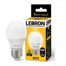 LED лампа Lebron L-G45, 6W, Е27, 3000K, 480Lm, угол 220 °