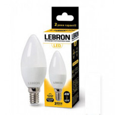 LED лампа Lebron L-С37, 4W, Е14, 4100K, 320Lm, кут 220°