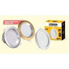 LED св-к LEBRON L-DRS-Gold, 6W, 300Lm, 3000K-4100K-6500K, вб-ний
