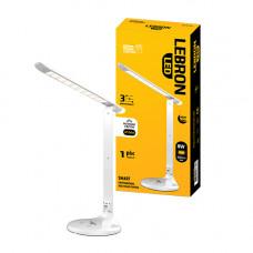 LED лампа настольная LEBRON L-TL-L, 8W, 4100K, 3 уровня ос-сти, ночник, белая, с блоком питания