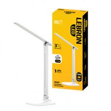 LED лампа настольная LEBRON L-TL-L, 10W, 4100K, 3 уровня ос-сти, белая, с блоком питания
