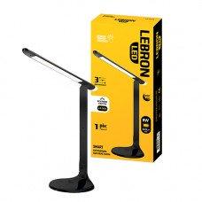 LED лампа настольная LEBRON L-TL-L, 8W, 4100K, 3 уровня ос-сти, ночник, черная, с блоком питания
