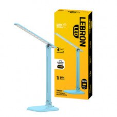 LED лампа настольная LEBRON L-TL-L, 10W, 4100K, 3 уровня ос-сти, блакитна, с блоком питания
