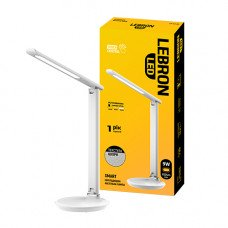"LED лампа настольная LEBRON L-TL-L, 9W, 3000K, 4100K, 6500K, белая ""кожа"", с блоком питания"
