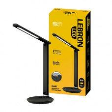 "LED лампа настольная LEBRON L-TL-L, 9W, 3000K, 4100K, 6500K, черная ""кожа"", с блоком питания"