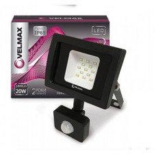 LED прожектор Velmax, 20W, 6200K, 1800Lm, кут 120°, Датчик руху